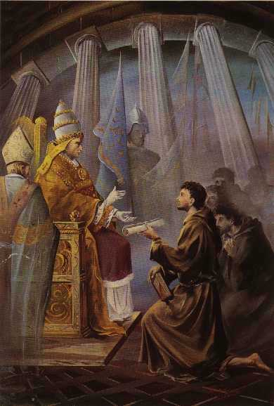 Pope Innocent III receives francis of assisi