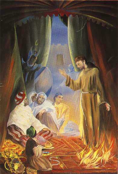 St Francis trial by fire in egypt before Sultan