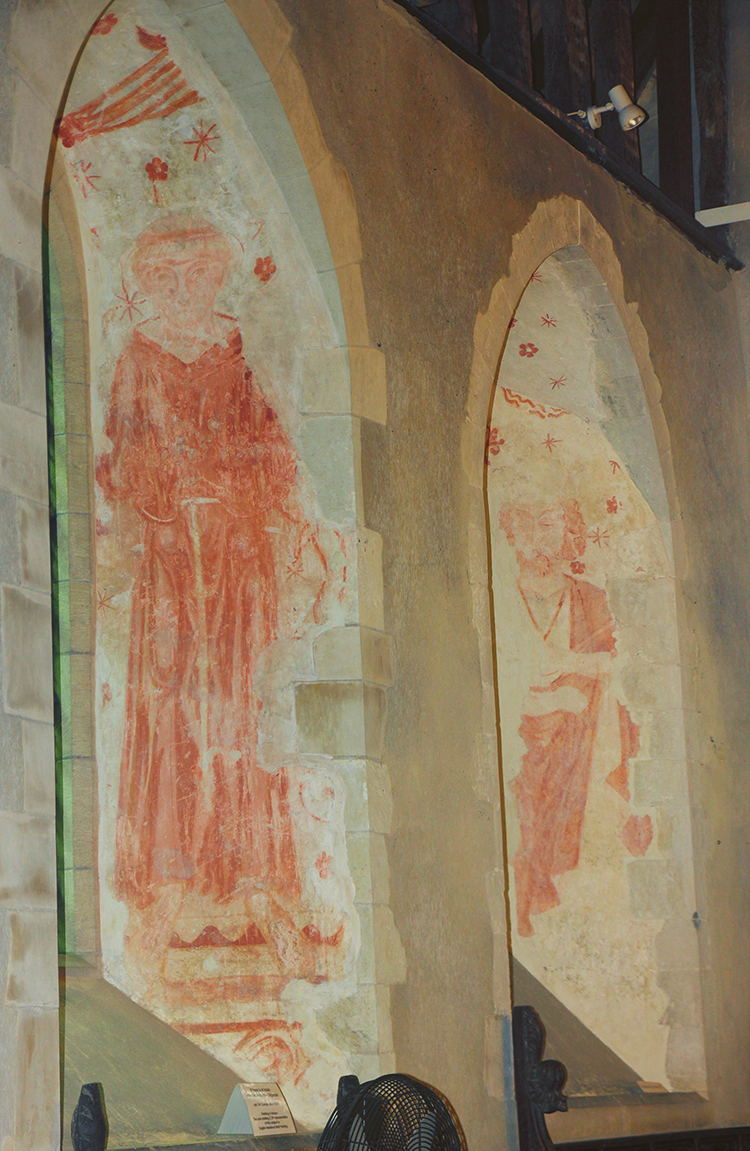 Wall painting of St Francis of Assisi at Doddington in Kent