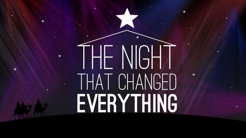 image of beautiful purple night with bethlehem star